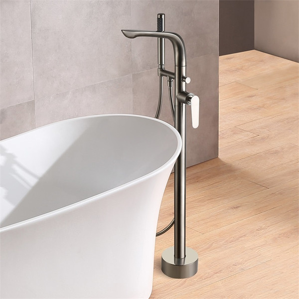 Freestanding Tub Filler Brushed Nickel.2019 Modern Stylish Freestanding Bathtub Faucet Brushed Nickel Floor Mount Dual Function Tub Filler With Hand Shower From Dima Homes 267 33