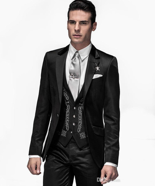 Popular Notch Lapel Embroidery Groomsmen One Button Groom Tuxedos Men Suits Wedding/Prom Best Man Blazer ( Jacket+Pants+Vest+Tie)