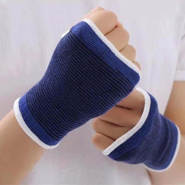 Polyester Cotton Knit Bracer Fitness Palm Protective 13.5cm Elastic the Wrist Wrap Blue Sleeve