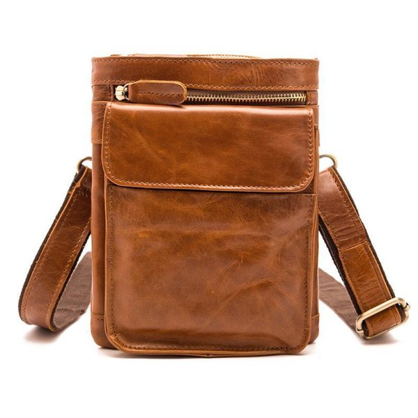 Genuine Oil Wax Leather Fashion Design Mens Waist Bag Cowhide Shoulder Messenger Travel Hip Bum Belt Cross Body Bag B595