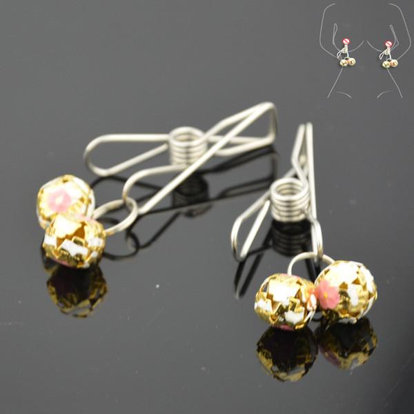 1pair соски Зажимов многоразовой С Bells Цветочной Hollow Дизайн груди Labia Стимулятор клипы Целомудрием пояс устройство Секс игрушка для пар