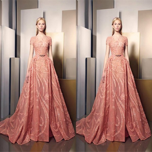 Ziad Nakad Overskirt Prom Dresses Long Sheer Jewel Neck Lace Formal Gowns Sequined Floor Length Tulle Appliqued Party Dress For Women