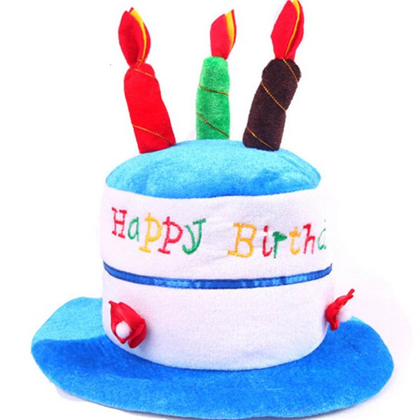 HAPPY BIRTHDAY CAKE PARTY HAT Plush Novelty Cap Candles Party Supplies Kids SH190923