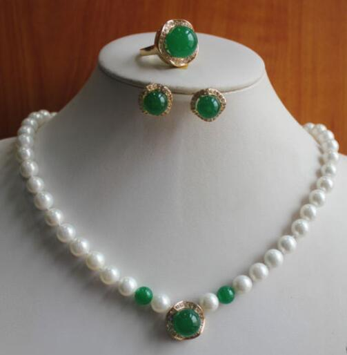 fine quality jewelry wholesale good Jewelry White Pearl Green gem stone Necklace Earring Ring (#6/7/8/9) 5.27 silver-jewelry