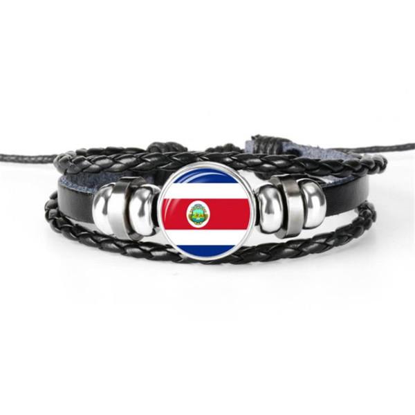 Verre Cabochon Drapeau National Du Costa Rica Coupe Du Monde Fan Fan Bracelet Pour Femmes Hommes À La Main En Cuir Noir Corde Perlé Bijoux Cadeaux