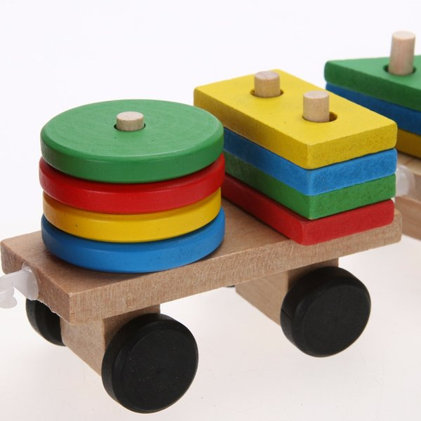 educational toys Toddler Baby Stacking Train Block Fun Vehicle Block Board Game Toy Wooden Educational Toy for Children Xmas Gift