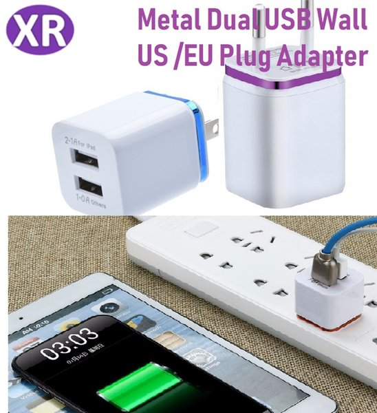 US Plug/EU Plug 2.1A AC Power Adapter Metal Dual USB Wall Charger Portable Home Smart Charger For Samsung Galaxy Note LG Tablet Mix Color