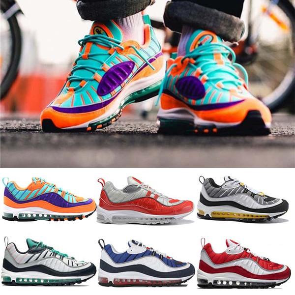 Nike Air Max 98 Zapatillas De Running Para Hombre Cojín Cono Gundam Triple Negro Blanco Tour Yellow Racer Blue Hombre Zapatillas De Deporte De