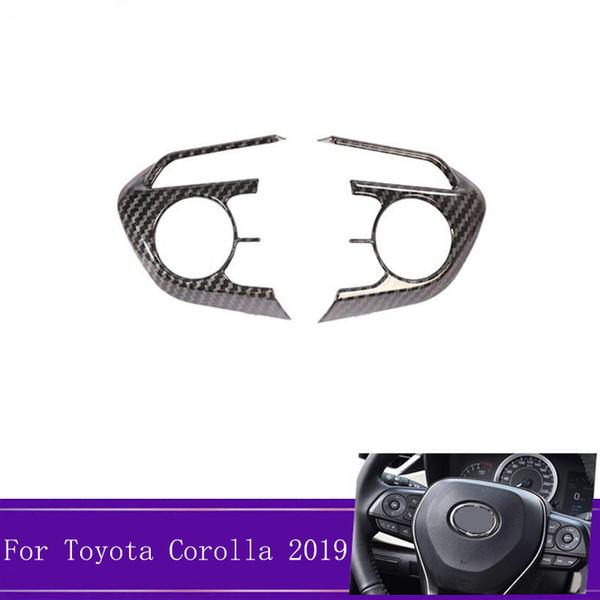 2pcs / set ABS en fibre de carbone volant de voiture couverture Garniture Autocollant intérieur auto Accessoires Fit Pour Corolla 2019