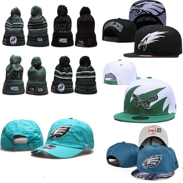 2020 Philadelphia Eagles tuques d'hiver réglable hommes Chapeaux femmes équipe de broderie Logo Snapback Team All Wholeasle Knit au chaud en plein air Caps