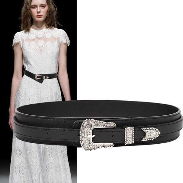new ladies belt black pu leather belts for women fashion waistband vintage silver big carved buckle strap belt for dresses jeans