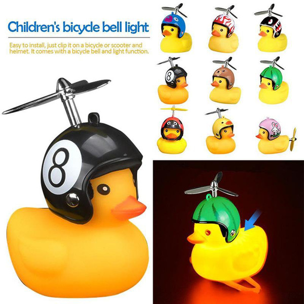 Bicycle Duck Bell with Light Broken Wind Small Yellow Duck MTB Road Bike Motor Helmet Riding Cycling Accessories led lights