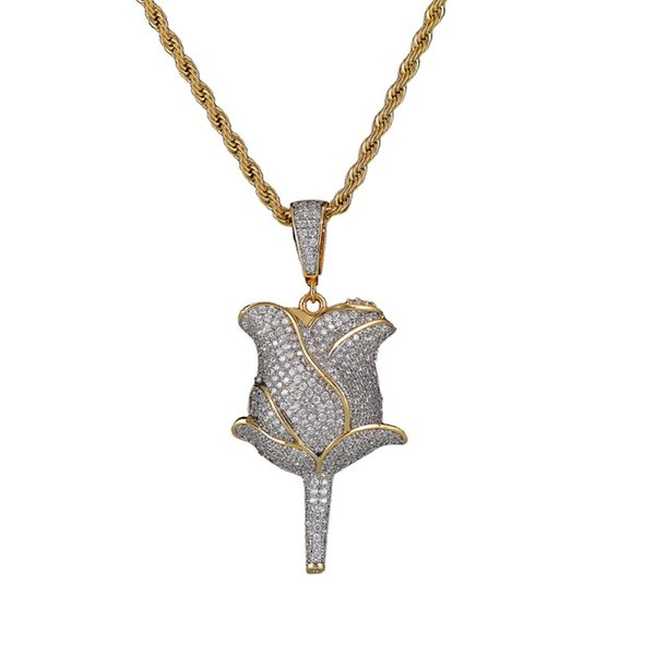 goldsilver pendant 24inch rope chain