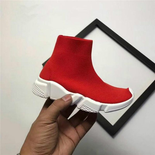 04 2019 Baby Speed Socks High Quality Speed Trainer Running Shoes Speed stretch-knit Mid Sneakers 28-35