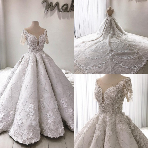 Vestidos de novia elegantes y elegantes con cuello en V Vestidos de novia Apliques de flores en 3D Falda acanalada con volantes Vestido de novia Mancha Vestidos de novia nupciales con cuentas completas