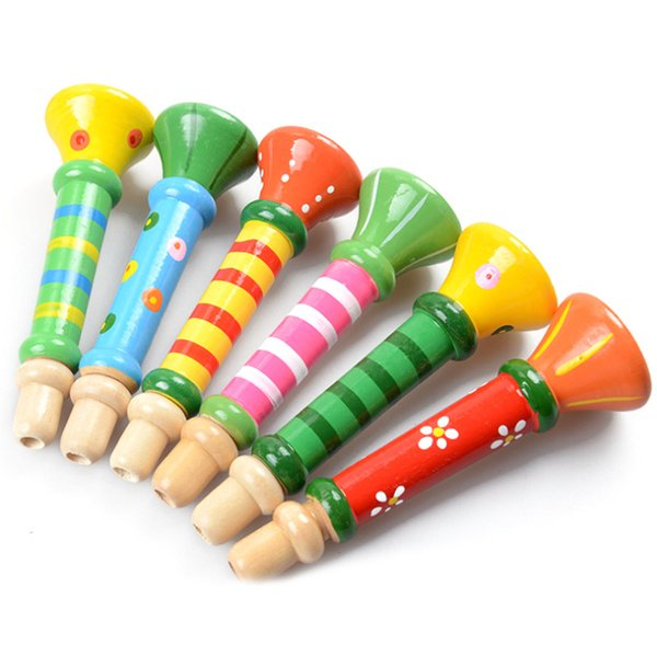 50PCS Baby Wooden Small Horn Whistle Musical Toys Gift Colorful Developmental Toy for Kids Music Instrumental Toys AIJILE