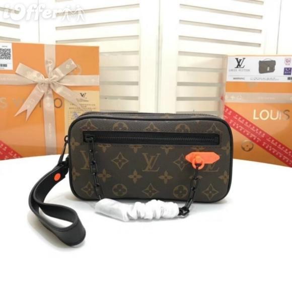 M44458 Men Canvas Orange Canvas Chain Clutch Purse Bag Zip Clutch Handbag Purse Bag Brown Wallet Purse Belt Bags Mini Bags Clutches Exotics