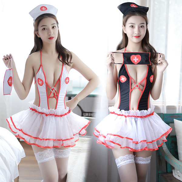 New Sexy Nurse Suit Lingerie mini dress Underwear Intimates Exotic Apparel COSPLAY skirt Hat Set Girl Sex Adult Games