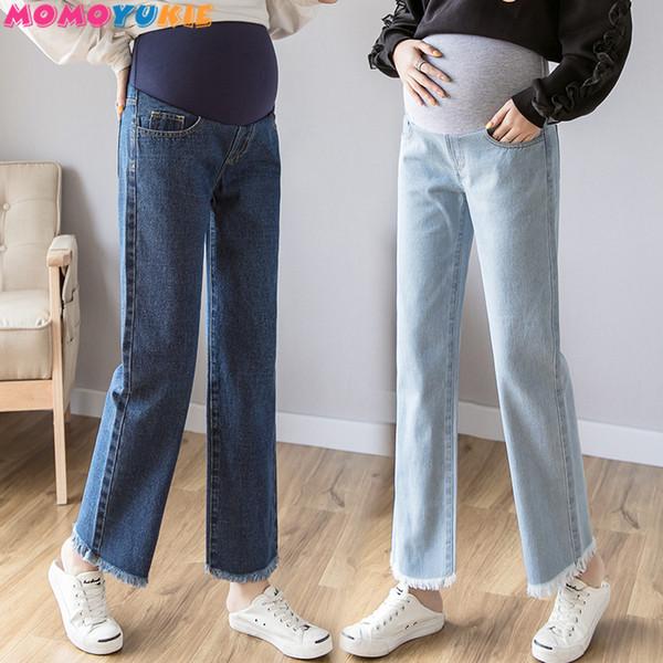 Umstandsjeans mit weitem Bein für Schwangere 2019 Schwangerschaft Denim-Hosen Gerade Baumwollhose Umstandsmode in Übergröße