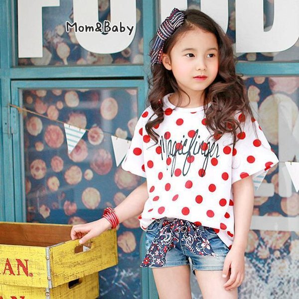 Kids girls casual t shirts baby summer girl dot white printed t shirt cotton all match fashion clothes children tops 2-10 Years