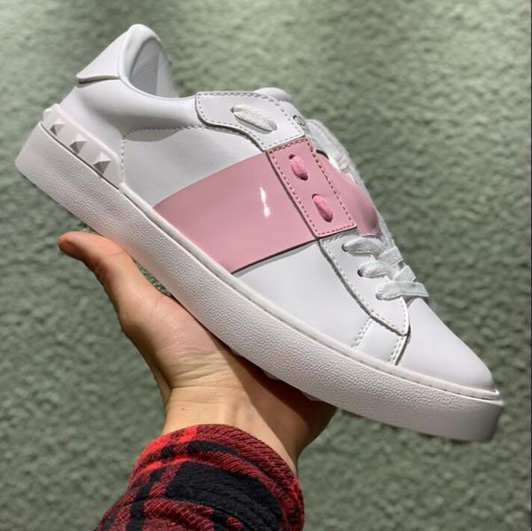 2019 beyaz deri dikiş başlıksız damızlık açık klasik rahat ayakkabılar pembe erkekler ve kadınlar çift ucuz tasarımcı ayakkab ...