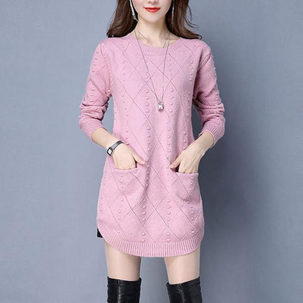2019 nuevo de las mujeres suéteres de punto suéter de color sólido del O-cuello de manga larga moda suéteres flojos Jersey de punto Tops WZL1571