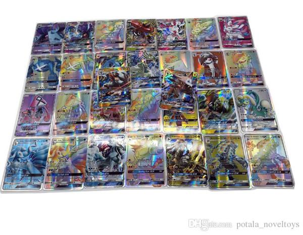 1 lote de tarjetas de comercio de anime 120pcs / lot 120GX + Trainer Games EX Mega Cards Cartoon Party English Card para niños adultos Poker cajas de brillo Navidad