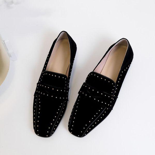 Çocuk Süet Loafer'lar Düz Kare Ayak Moda Handmades Yeni Özel Ayakkabı Slip-on Casual Kadınlar Flats Ayakkabı