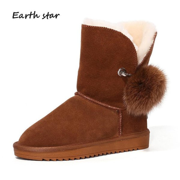 Charm2019 Botas Shoes Women Brand Warm Snow Boots Lady Chaussure Female Footware Real Leather Mid Calf Boots