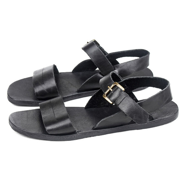 brand mens summer cow genuine leather beach sandals leisure rome gladiator streetwear mens antiskid flats shoes slippers