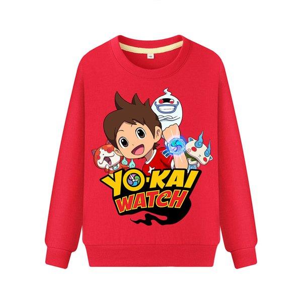 Детский мультфильм Yokai часы печати толстовки толстовка дети весна осень повседневная кофты мальчики девочки с длинным рукавом пуловер пальто DZ101