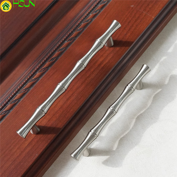 2.5 '' 3.75 '' 5 '' Gümüş Nikel Çekmece Kolları Dresser Kolları Bambu Kapı Kolları Çeker Kolları Kabine Mutfak Donanım