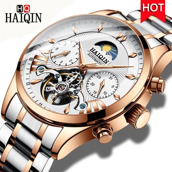 HAIQIN Relógios dos homens Top Marca de Moda de Nova Automático Mecânico Relógio de Pulso de Luxo de Aço Inoxidável Homens Assista Relogio masculino