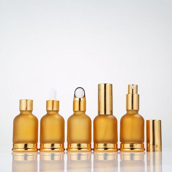 30 ml De Vidrio Botellas de Aceite Esencial Vial Cosmético Suero Empaquetado Loción Bomba Atomizador Spray Botella Gotero Botella Envío Rápido F2550