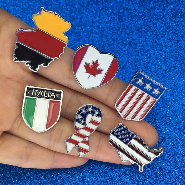 Ulusal bayraklar Emaye Pin Kanadalı Amerikan Alman İtalyan Bayrağı Broş Pin Düğme Şapka Çanta Giyim Yaka Pin Rozeti Takı Hediye bırak gemi
