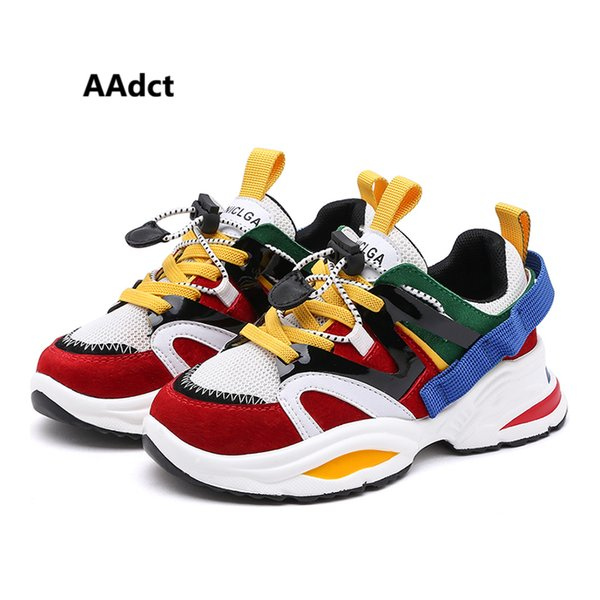 Aadct 2019 Running Sports Kids Shoes For Girls Spring New Fashion Boys Shoes Sneakers Mesh Student Children Casual Shoes Y190523