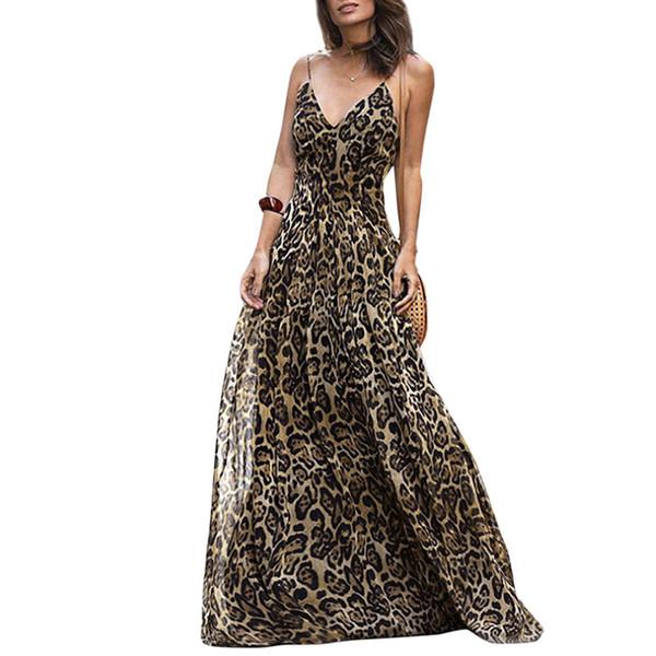 Frauen Leopardenmuster Langes Kleid V-ausschnitt Spaghetti Schultergurte Sommer Strand Kleider 2019 Sleeveless Beiläufiges Maxi Kleid Vestidos