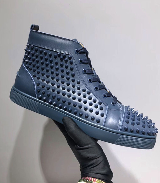 Top Quality Brand High Top Spikes With Paint Leather Shoes ,Red Bottom Sneakers ,For Men and Women Party Leisure Flats Outdoor Casual Shoes
