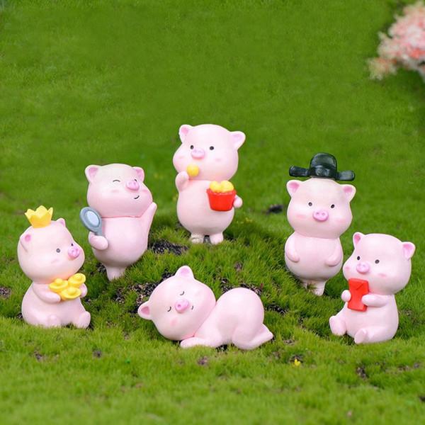 12pcs Pet Guarigione Super cute del piccolo maiale micro paesaggio vegetale Mestieri della resina artificiale Figurine Fairy Garden Miniatures