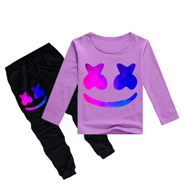 1-12Y Boys Girls long sleeves T-shirt + Trousers 2 Piece Sets DJ Marshmello Printed kids clothing sets kids designer clothes DHL JY103