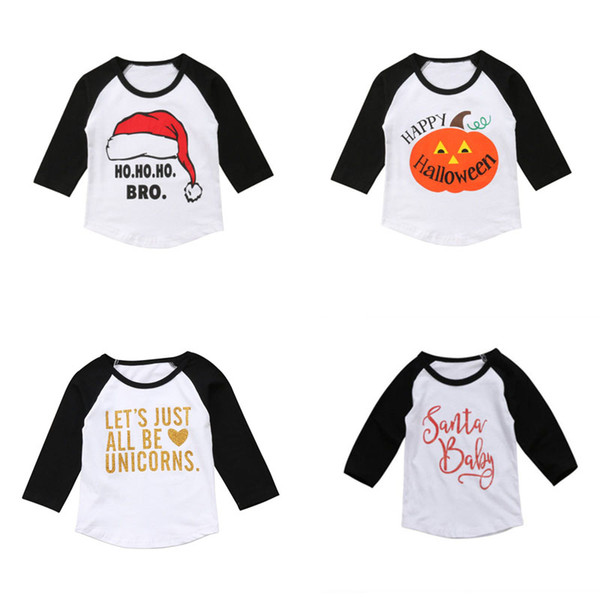 best selling Baby Kids Christmas T-Shirts Letter Printed Long Sleeve Tops Kids Casual Girls Clothes Girl Winter Plug-in Sleeve Tops 1-6T 07