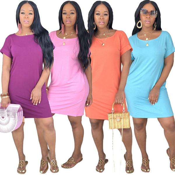 Dama de verano de manga corta faldas de color sólido por encima de la rodilla vestido de una pieza suelta moda hogar ropa caliente venta 27mc E1