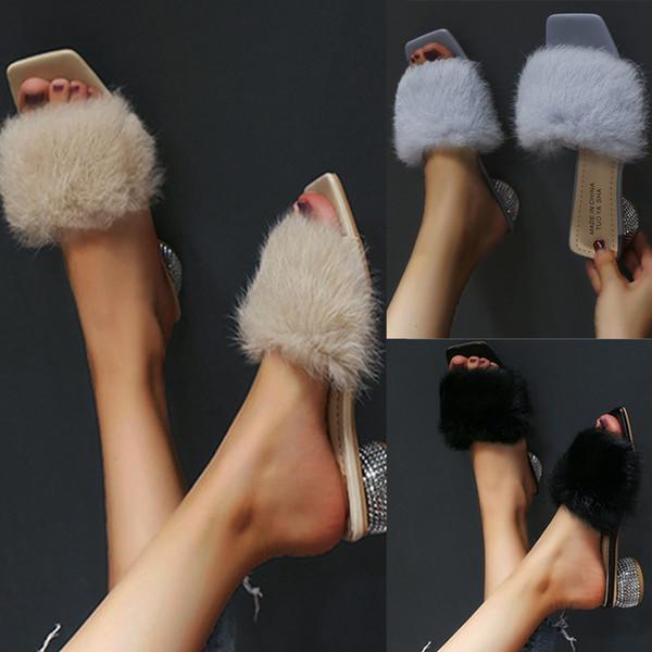 Salto Toe New Verão Chinelos Outdoor Sólidos Fofo Chinelo Mulheres Moda Praça Rodada de Inverno de cristal Chinelos Sapatos Doce Sólidos