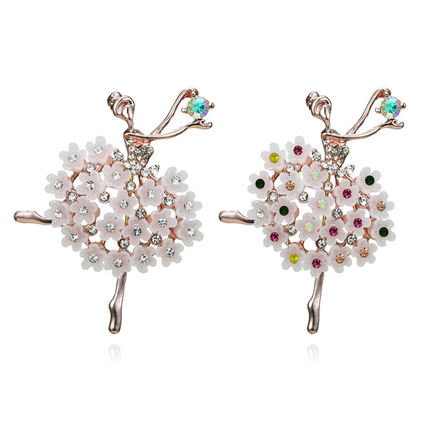Wedding Rinhoo Swan Lake Factory Direct Sale Ballet Dancing Girl Shinning Crystal Glass Brooches for Woman in assorted designs 10pcs/lot