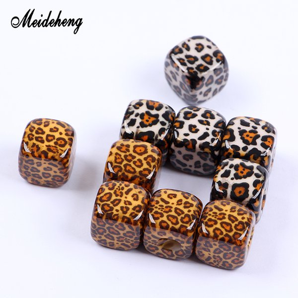 13*13mm Acrylic Leopard Print Charms Square Beads Accessories For Hair Ornaments Jewelry Making Handmade Hair Ring Decorations