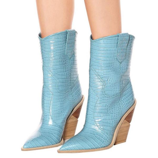 cuir véritable mode Chunky coince bottes femmes sexy motif serpent court orteil pointu bottes de cowboy talons hauts chaussures femmes