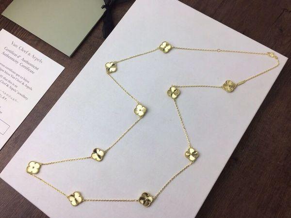 Vintage Alhambra S925 Prata Esterlina Com 18 k Banhado A Ouro de Cerâmica 20 PCS Quatro Folha Trevos Longo Camisola Colar Para As Mulheres Jóias