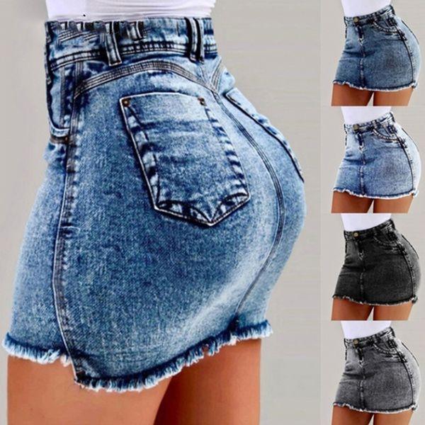 Femmes D'été Denim Jupes 2019 Nouvelle Taille Haute Moulante Jeans Jupe Dames De Poche Jupes Courtes 4Color