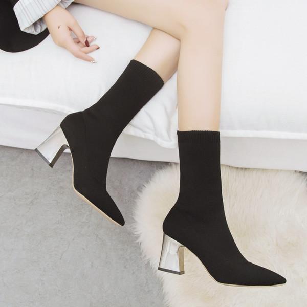 Mulheres Sock Botas Outono Elastic estiramento salto alto bico fino Bombas Botas Sapatos Feminino Moda Mid Calf Sapatos