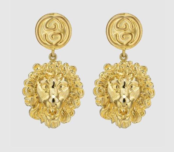 Designer Women Jewelry New Golden Lion Head Stud Earrings Luxury Big Earrings for Women's Wedding Jewelry